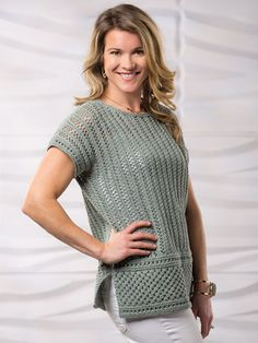 "Make a timeless classic with this kind-to-earth openwork tee. Knit with 780 (910, 1040, 1040, 1170) yds #4 worsted-weight yarn using U.S. size 8/5mm 24"" circular needle and size 9/5.5mm straight needles. Tee is intended to be oversized. Finishe..."