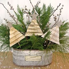An assortment of greenery from the yard and a trio of trees folded from scrapbooking paper add up to an easy shabby Christmas centerpiece! See my blog for a com…