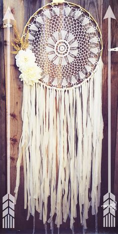 Floral Gold & Off White Gypsy Shabby Chic Boho Crochet Doily Dreamcatcher // Wedding Decor // Baby Nursery Decor by Unicorns4Evaa