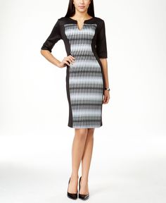 Connected Printed Panel Scuba Dress