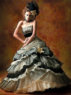 Sensational Gothic Wedding Dress in Black and White Strapless and other apparel, accessories and trends. Browse and shop 3 related looks. Yellow Wedding Dress, Colored Wedding Dress, Yellow Dress, Estilo Fashion, Fashion Moda, Gothic Lingerie, Mode Costume, Dress Up, Beauty And Fashion