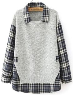 To find out about the Grey Lapel Long Sleeve Plaid Loose Blouse at SHEIN, part of our latest Blouses ready to shop online today! Remake Clothes, Sewing Clothes, Moda Kids, Casual Tops For Women, Pullover, Blouse Styles, Refashion, Winter Outfits, Plaid