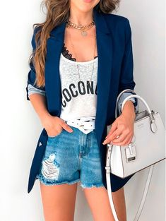 Women S Fashion Designer Labels Classy Outfits, Casual Outfits, Summer Outfits, Cute Outfits, Look Blazer, Blazer And Shorts, Blazer Fashion, Fashion Outfits, Womens Fashion