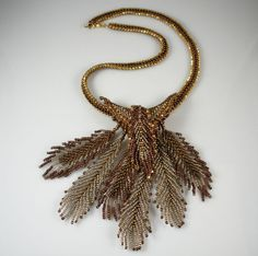 Beadweaving Bronze & Copper Necklace with Beadwoven by TheHighBead, $250.00