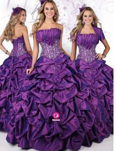 Mode de bal Sans bretelles Longueur ras du sol Robe de soirée en Taffetas avec Perle Fleurs manuelles Jupe ampleée Ruché(FR0260306)