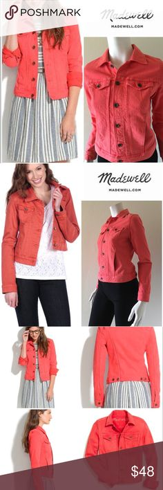 "Madewell Jean Jacket In Coral #162-9 Chic Coral Jean Jacket. Great used condition.  Size XS. This traditional denim jacket silhouette is updated with a bright pop of coral. Two front button pockets & two side slip pockets. 99% cotton, 1% spandex. Machine wash cold. Approximate measurements (flat measured across): Chest 17.5"", Waist 16"", Shoulder to shoulder 14"", Length 20"", Sleeve 24"". Madewell Jackets & Coats Jean Jackets"