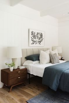 Modern meets traditional bedroom design with upholstered headboard, ceiling beams in bedroom and shiplap, traditional night stand decor, blue and white bedroom decor, Cozy Blue Bedroom White Bedroom Decor, Bedroom Furniture Design, Modern Bedroom Furniture, Modern Bedroom Design, Blue Bedroom, Contemporary Bedroom, Bedroom Sets, Home Decor Bedroom, Bedroom Designs