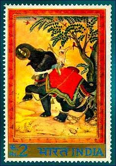 "Indian 2 र Stamp, ca. 1973: Mughal MinuTure by Zainal Abadin, ""Chained Elephants"" circa 1500"