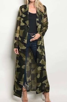 Long camouflage duster kimono robe with collar. Rayon Spandex knit Camouflage print in Browns, Olive and Black Length: 53 inches Sizes: Small Medium Large Camouflage Fashion, Camo Fashion, Big Girl Fashion, Military Fashion, Fashion Dresses, Cute Comfy Outfits, Chic Outfits, Long Kimono Outfit, Kimono Cardigan