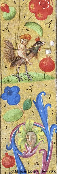 Nude infant astride rooster (but of course) - France, late 14th c., Medieval Manuscript Images, Pierpont Morgan Library, Book of hours (MS M.6). MS M.6 fol. 40v