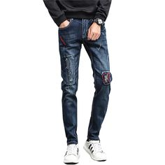 >> Click to Buy << KSTUN Ripped Jeans for Men Embroidered Slim Fit Stretch Dark Blue Denim Pants Hip Hop Motocycle Biker Jeans Cowboys Male Homme #Affiliate