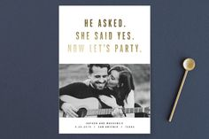 """""""Marquee"""" - Bold typographic, Whimsical & Funny Save The Date Cards in Golden by Jody Wody."""