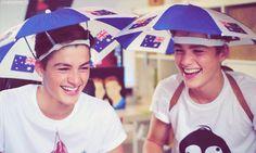 Jack and Finn umbrella hats their smiles r so cute!