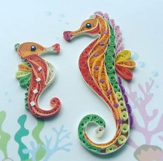 Quilled seahorses colorful sea bottom
