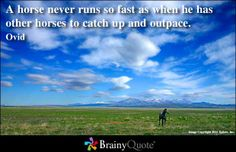 A horse never runs so fast as when he has other horses to catch up and outpace. - Ovid