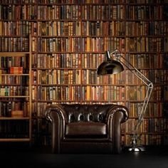 A masculine space with Andrew Martin's library wallpaper