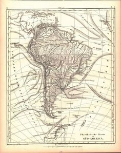 Tef 7 Physical Map of South America Iconographic Encyclopaedia of Science Literature and Art by JG Heck Issued 1857 New York In VG condition or better age toning to edges well worthy of hanging for di