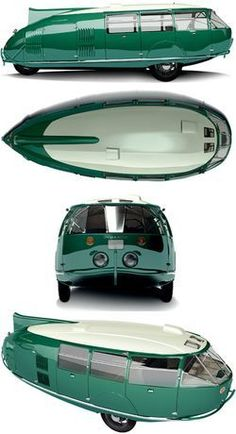 Dymaxion, Designed by Bucky Fuller. Built in 1933, powered by a V8 Ford engine. Highest documented speed 90 mph, 30 mpg, 11 passengers.: