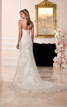 6286 Lace Over Satin Fit and Flare Wedding Dress by Stella York