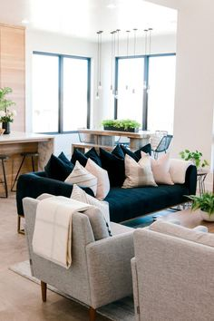 Melt into this dream. This elegant but cozy velvet sofa features a deep seat with plush back scatter Living Room Sofa, Living Room Interior, Home Living Room, Living Room Designs, Living Room Furniture, Living Room Decor, Modern Furniture, Blue Velvet Sofa Living Room, Rustic Furniture