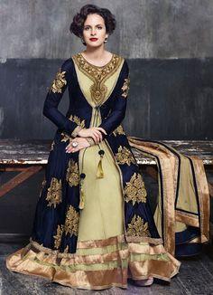 Royal Blue and Gold Microvelvet Anarkali