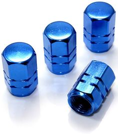 """Amazon.com : (4 Count) Cool and Custom """"Hexagon and Grooves with Easy Grip Shape"""" Tire Wheel Rim Air Valve Stem Dust Cap Seal Made of Genuine Anodized Aluminum Metal {Royal Dodge Blue Color - Hard Metal Internal Threads for Easy Application - Rust Proof - Fits For Most Cars, Trucks, SUV, RV, ATV, UTV, Motorcycle, Bicycles} : Sports & Outdoors"""