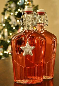 Ways to decorate bottle of infused vodka for christmas