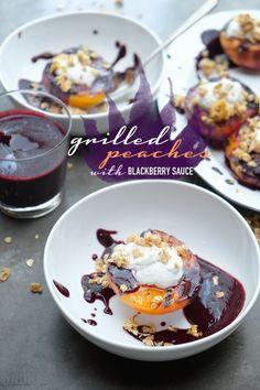 Grilled Peaches with Blackberry Sauce - Shutterbean Best Dessert Recipes, Fruit Recipes, Fun Desserts, Sweet Recipes, Delicious Desserts, Summer Recipes, Grilling Recipes, Cooking Recipes, Blackberry Sauce