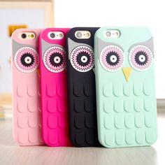 Nova chegada 3D bonito coruja de borracha de silicone telefone caso capa para Apple iPhone 4 4S 4 G 5 5S 5 G 6 6 S 4.7 6 plus 5.5