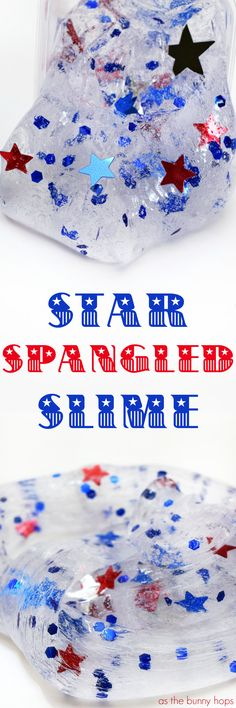 Celebrate the 4th of July with a batch of star spangled slime! Includes easy recipe and shopping guide for supplies!
