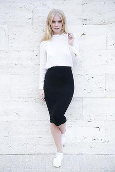 Shop this look on Kaleidoscope (blouse, skirt) http://kalei.do/XGD5Eg0y61Xnc3On