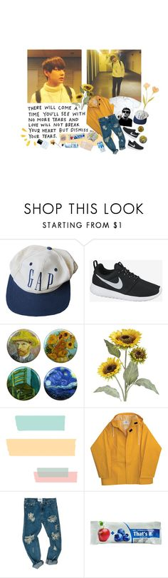 """""""HERE COMES THE BOY WHO BRINGS THE SMILES"""" by johnuhope ❤ liked on Polyvore featuring NIKE, Pier 1 Imports, OneTeaspoon, Hahn, Marc Jacobs, yellow, kpop, bts, bangtan and taehyung"""