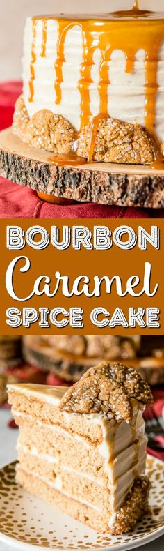 Seasonal and comforting, this Bourbon Caramel Spice Cake is full of fall flavors, covered in a caramel bourbon cream cheese buttercream, and garnished with your favorite gingersnap cookies! via (baking ideas caramel)