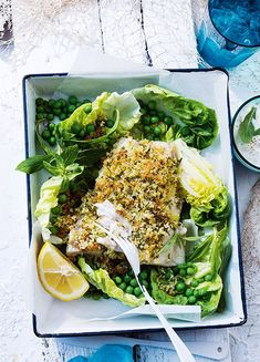 How to make Crumbed Barramundi With Peas Seafood Dishes, Fish And Seafood, Seafood Recipes, Fresh Seafood, Pea Recipes, Detox Recipes, Healthy Dishes, Healthy Recipes, Healthy Food