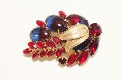 "Rare Weiss Blue And Red Two Toned ""Cuba"" Rhinestone Brooch #Weiss"