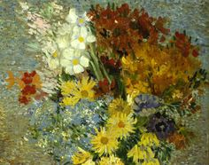 """Vase with daisies and anemones"" (Paris. Summer 1887) [F323] [Detail] By Vincent van Gogh, from Zundert, Netherlands (1853 - 1890) - oil on canvas; 61 x 38 cm - [Post-Impressionism] Place of creation: Paris © Kröller-Müller, Otterlo, Netherlands http://www.kmm.nl/ https://www.facebook.com/KrollerMuller"