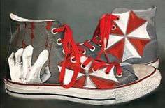 Resident Evil Shoes Hand Painted Umbrella by catinthehatetsy #residentevil #residentevilshoes #customconverse #customchucks #shoes #handpainted #paintedshoes #catinthehatetsy