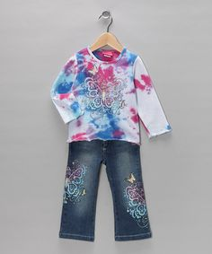 Take a look at this White Butterfly Sparkle Tee & Jeans - Girls by Gigi on #zulily today!
