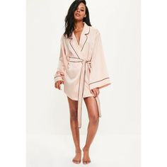 Missguided Pink Satin Bride Squad Robe ($57) ❤ liked on Polyvore featuring intimates, robes, nude, bath robes, pink slip, pink robe, satin dressing gown and satin robe