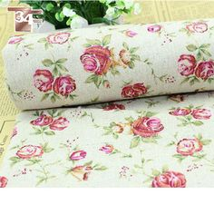 Free shipping 100% linen red floral print fabric for bedding/DIY crafts,upholstery fabric for sofa /curtainSP623