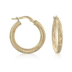 Italian 14kt Yellow Gold Ribbed Round Hoop Earrings