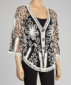 Black & White Sheer Embroidered Silk-Blend Cardigan