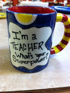 I'm a teacher/mum/dad/. Pottery Painting, Ceramic Painting, Diy Painting, Ceramic Art, Teacher Appreciation Week, Teacher Gifts, Teacher Stuff, School Projects, Craft Projects