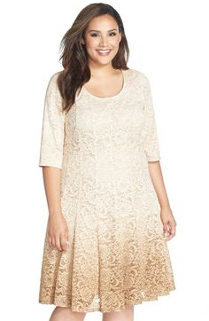 Chetta B 'Magic' Ombré Lace Fit & Flare Dress (Plus Size) available at #Nordstrom