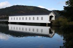 Dexter Lake ~ Oregon ~ The Lowell Covered Bridge is the only Oregon covered bridge that crosses a lake.