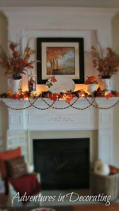 """Fall Mantel - love the ambience of the lights . How I wish my mantel looked, but no we have a 60"""" tv above ours.. lol"""