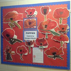 Years 3 and 4 have been studying poppies by the artist Georgia O'Keefe to inspire them to create their own art work - just in time for Remembrance Day. Remembrance Day Activities, Remembrance Day Art, Independent Day, Ww1 Art, Poppy Craft, 6th Grade Art, Grade 3, Kindergarten Art Projects, Fall Art Projects