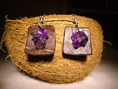 Amethyst Earrings Coconut Earrings Dangle Earrings by GaeaCrafts