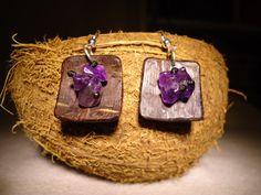 Amethyst Earrings Coconut Earrings Dangle Earrings by GaeaCrafts
