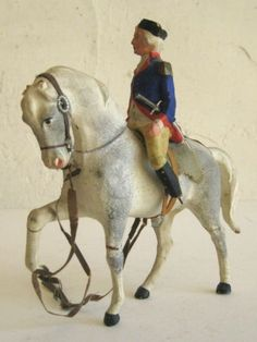 Antique Papier Mache Composition Confederate Toy Soldier Horse Candy Container